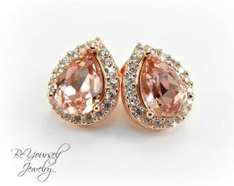 Soft Pink Bridal Earrings Blush Bride Studs Wedding Jewelry Swarovski Vintage Rose Teardrop Cluster Earring Rose Gold Pastel Bridesmaid Gift