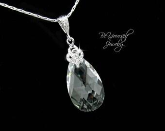 Bridal Teardrop Necklace Swarovski Crystal Clear Necklace Wedding Necklace Bride Necklace White Crystal Wedding Jewelry Bridesmaid Gift CZ