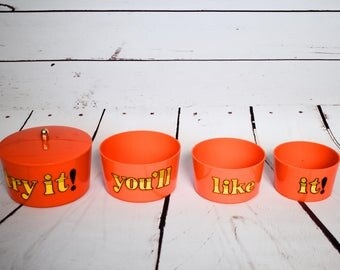 1970s Orange Storage Set Canisters Try It You'll Like It 4 Stacking Bowl Set Kitsch Serving Pieces