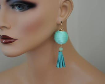 Dangle Earrings, Tassel and Stacked corded ball Earrings, mint color Earrings, Drop Earrings, Gift for her, Long earrings, Latest Fashion