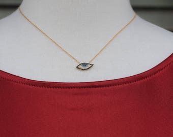 Evil Eye Necklace/Pendant, CZ evil eye, Gift for her, Good Luck charm, Holiday Gift, Gold color evil eye
