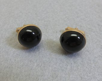 Vintage Swank Black Glass Cuff Links, Gold and Black, Art Deco Style