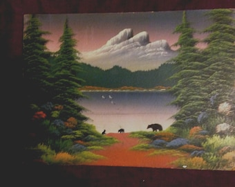 Original Flexhaug Painting Landscape Bears Mountains Forest - Bear Painting - At Everything Vintage Shipping is on Us!