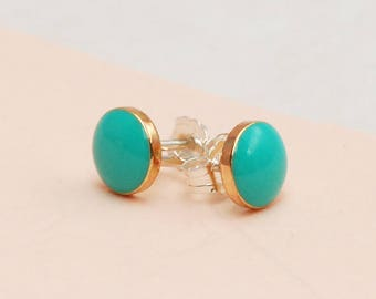 Tiny Handmade Turquoise and Gold stud earrings