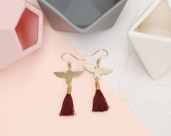 Dark Red Tassel earrings with Eagle Charm