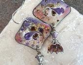 Purple Floral Enameled Copper Earrings with Art Glass Flower Drops, Sterling Silver, Boho Earrings, Unique, Gift for Mom, Long Bold Earrings