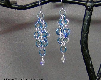 """Chainmaille Earrings - Earwires - Enameled Copper Rings, Sky Mix - 2.5"""" - Hand Crafted Artisan Jewelry"""