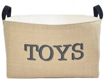 Toys Rectangular Burlap Storage Basket, X-Large