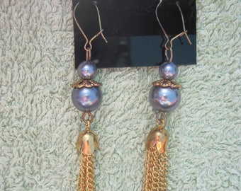 BEAUTIFUL Handmade Glass Grey Pearl Fringe Dangle Earrings...OOAK...Bridal/Holiday/Special Times..917H