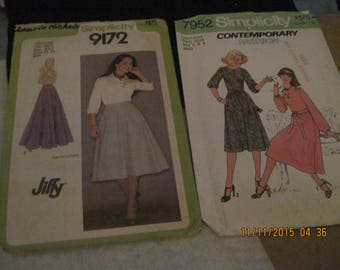 Vintage SIMPLICITY Patterns #7952 AND #9172.. sz.6....dress & skirt...1975 and 77...#54/55....