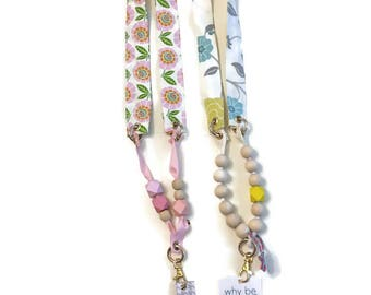 Lanyard with beads and gold tone hardware