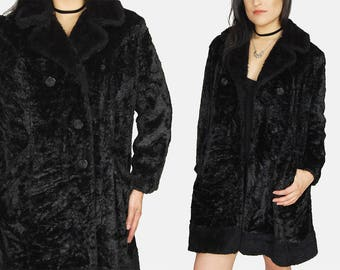 Black FAUX FUR Textured Jacket Vtg 80s Long Comfy Soft Plush Winter Witchy Goth Mystic Minimalist Double Breasted Coat - Large/XL