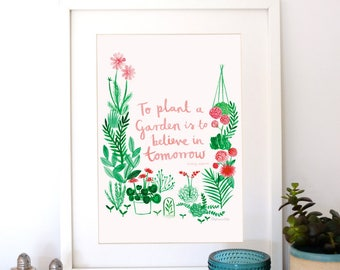 A4 Giclee Art Print: 'To Plant A Garden' Audrey Hepburn Quote