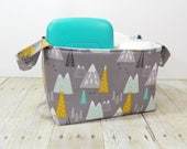 Fabric Storage Basket - Diaper Caddy - Mountains on Gray - Toy Storage