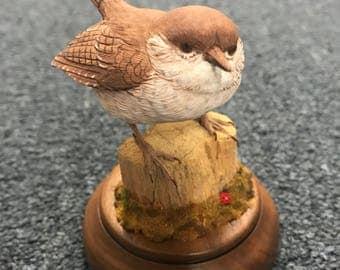 Hand Carved Wood House Wren Bird by Bonnie Allen