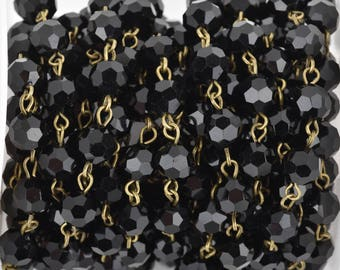 13 ft (4.33 yards) Black Crystal Rosary Chain, bronze, 8mm round faceted crystal beads, fch0670b