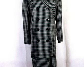vtg 50s Jonathan Logan Green Plaid Rayon 2 Pc Suit Dress DB Jacket sz 36 bust