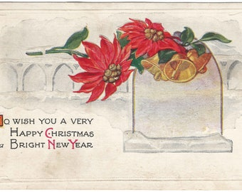 Old Window Sill with Snow on Ledge Poinsettia and Golden Bells Happy Christmas and Happy New Year Vintage Postcard Christmas