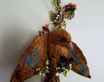 Brown finch soft sculpture bird, OOAK for Timothy Brown Only