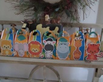 Safari Animals Gable Boxes Set of 28