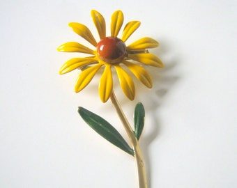 Flower Brooch, Vintage Metal Flower Pin Brooch