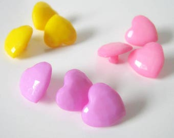 20 Acrylic Heart Shank Buttons, 14mm, Sewing Buttons, Shank Buttons, Buttons, Heart Buttons   1326