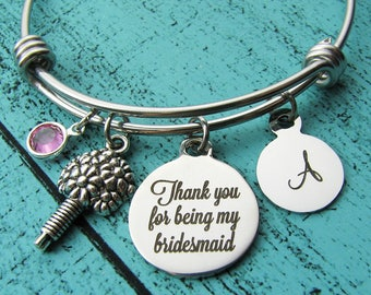thank you bridesmaid gift, bridesmaid proposal gift, Thank you for being my bridesmaid bracelet, bridal party jewelry, wedding party gift
