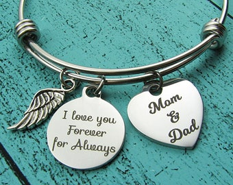Dad Mom remembrance gift, parents memorial bracelet, I love you forever for always, sympathy gift, bereavement gift, loss of parents mom dad