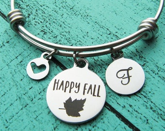 Fall jewelry, Happy Fall bracelet, fall lover gift, love fall personalized Christmas gift, under 30, Autumn stackable charm bracelet for her