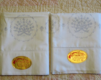 Vintage White Pillowcase Set Pair White Cotton Stamped Floral Bouquet Bows Ready To Embroider