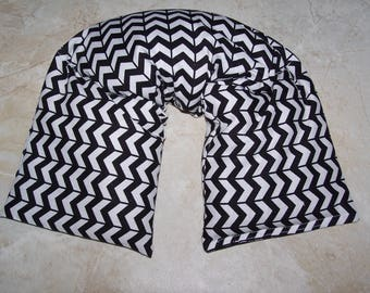 Neck & Shoulder Wrap  Pillow,  Heating Pad Ice Pack Flax seed therapy pillow black and white chevron