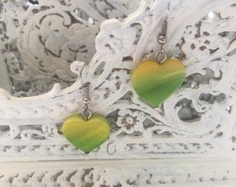 Vintage heart earrings in yellow and green, drop earrings, vintage jewelry 80s 90s