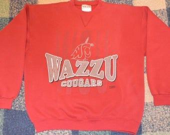 "Vintage 1990s ""Wazzu"" Washington State University WSU Cougars Crewneck Sweatshirt!!!"