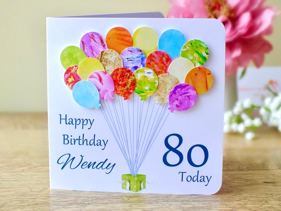80th birthday card personalised age 80 birthday balloons like this item bookmarktalkfo Image collections