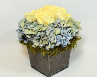Dried Flower Arrangement, French Country Flower Arrangement,  Hydrangea and Roses