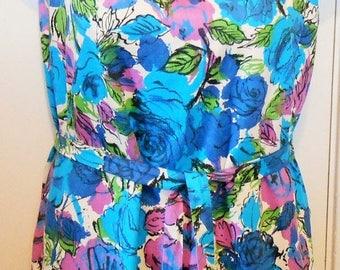 On Sale Vintage, Dress, Hawaiian Print, Shift, Blue Floral, 1960s, Beach, 36 Bust, Blue Floral, Aloah, Summer, Sleeveless Dress, Shift Dress