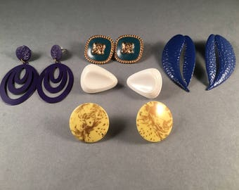 """Vintage Lot of Post Earrings Five Pairs, Purple Dangles 2.25"""" Dark Blue 2.25"""" Turquoise & Gold .75"""" Yellow and Gold 1"""" White Triangle 1"""""""