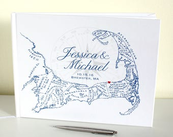 Cape Cod Guest Book - 80 Blank Pages - With Customizable Cape Cod Map