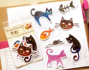 Watercolor Cats Stickers, Cats Sticker, Animal Sticker, Watercolor Sticker, Laptop Decal, Waterproof Sticker, Planner Sticker, Cat Decals