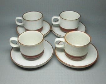 Denby potters wheel rust / red , stoneware England , 4 cups and 4 saucers