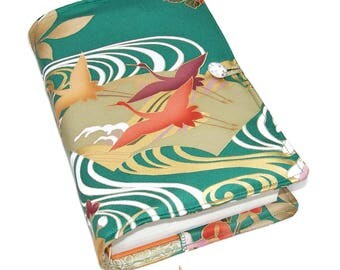 Large Bible Cover or Book Cover, Silk Kimono Fabric, Suitable for Hardback Books or Paperback Books, Flying Cranes on Green, UK Seller