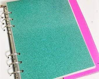 SALE A5 Size Bright Shiny Glittery Teal Green Glitter Laminated Dashboard Filofax Large Kikki k Planner