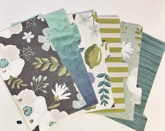 Personal Sized Laminated Dividers For Filofax Medium Kikki-k Planner Navy Blue Green Beige Large Floral Sea Water Lime Stripes Faux Bois