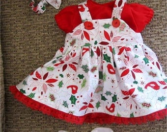 """Baby Doll Clothes Red Green & White Christmas Poinsettia Print Jumper,  Shirt, Headband  Fits Bitty Baby, Bitty Twins or Other 15"""" Baby Doll"""