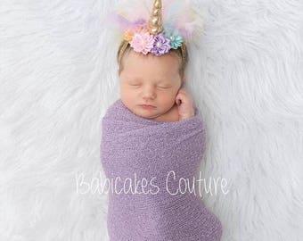 Unicorn Newborn Outfit, Unicorn Swaddle Outfit, Newborn Photo Outfit, Unicorn Photo Outfit, Unicorn Headband, Unicorn Baby Girl Outfit