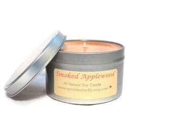 Smoked Applewood Soy Candle - 8 oz Scented Handmade Natural Soy Wax Vegan Candle - Eco-Friendly Recyclable Tin