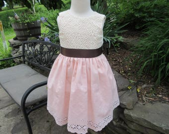 Flower girl dress, Ranch dress,  lace flower girl, special occasion dress, wedding party, vintage lace dress 12mo,  2t, 3t,