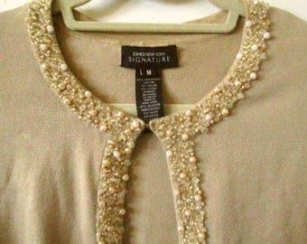 Jones NY Beaded Cardigan Sweater