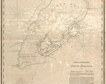 1819 Nautical Chart of Bermuda