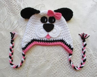READY TO SHIP - 6 to 12 Month Size - Pink, Black and White Puppy Crochet Hat - Winter Hat or Photo Prop